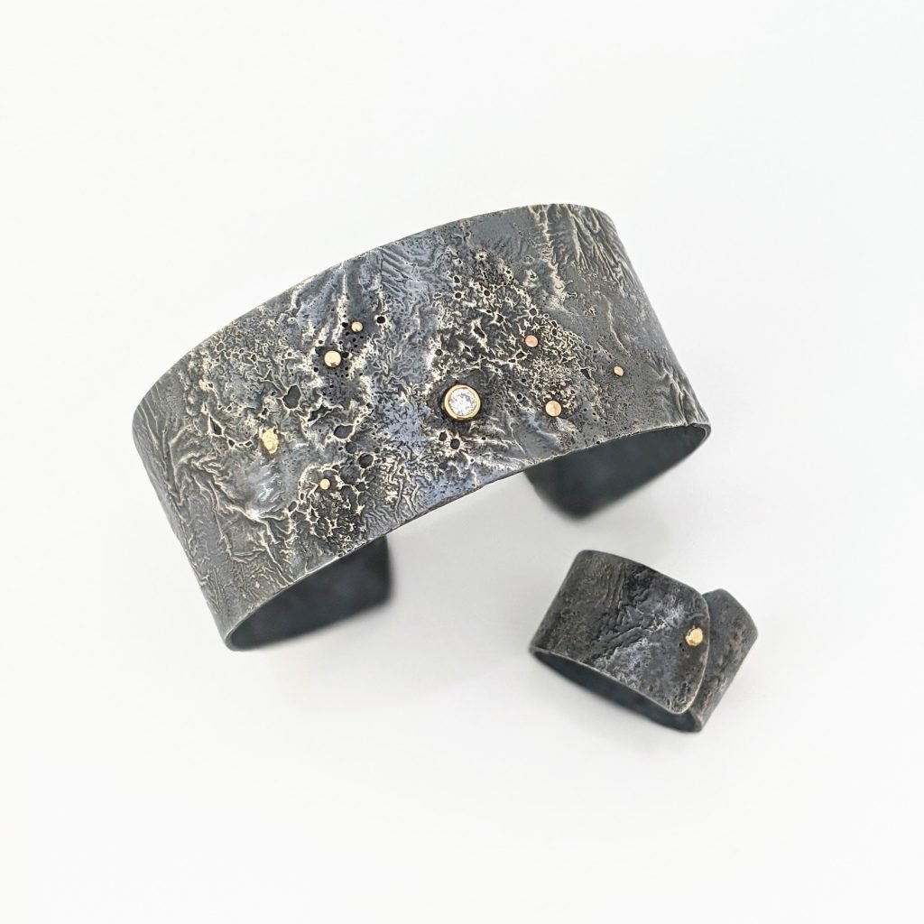 Reticulated Silver Cuff and Ring by Rocky Pardo