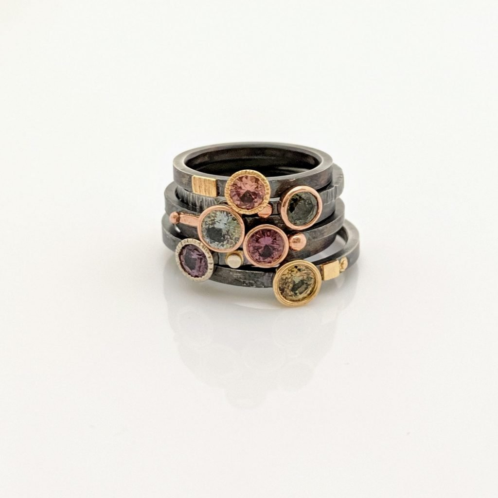 Sapphire Accented Stackers by Rocky Pardo