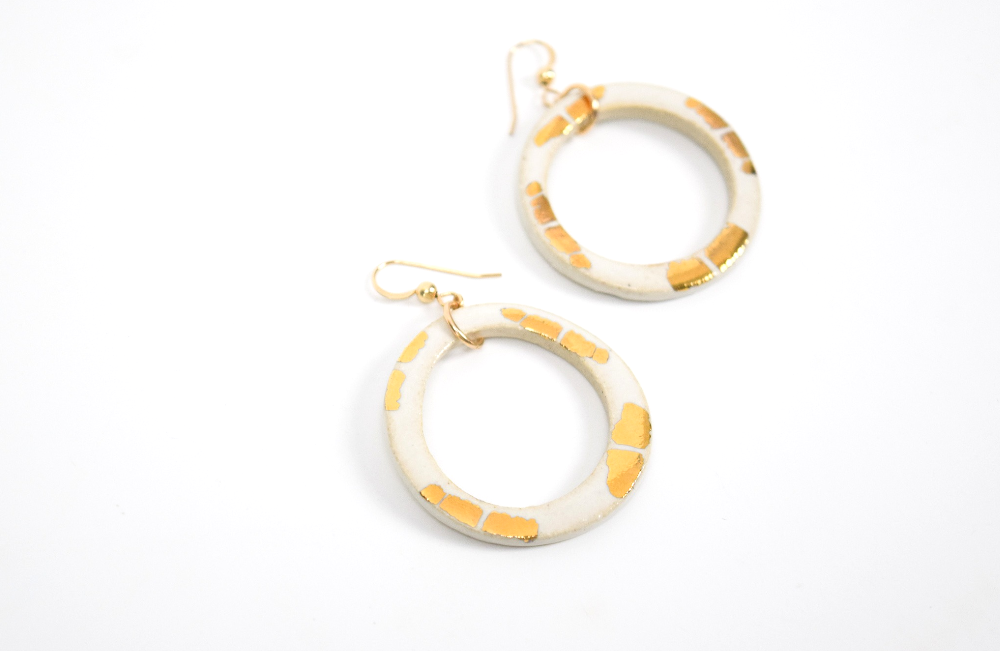 The Miami in White Earrings by Curry Wilkinson Pottery